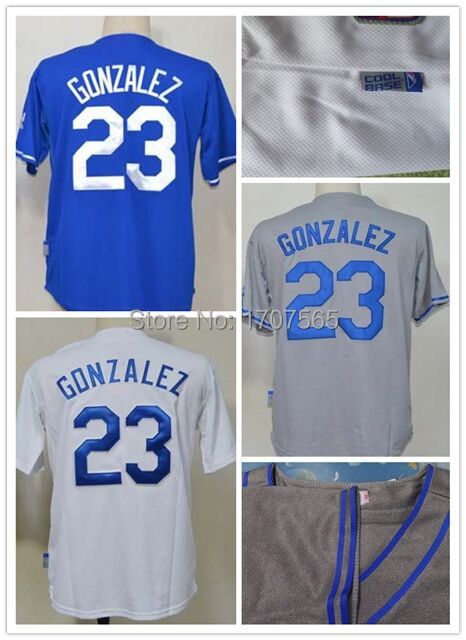 278e7429f Mens Baseball Jersey  23 Adrian Gonzalez jersey black white gray blue Los  Angeles Dodgers jerseys size M 48~XXXL 56