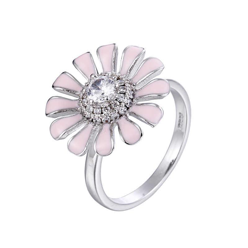 100% 925 فضة الأزياء للتدوير الوردي عباد الشمس لامعة كريستال ladies'party عصابة المجوهرات الإناث فتح خواتم الاصبع هدية