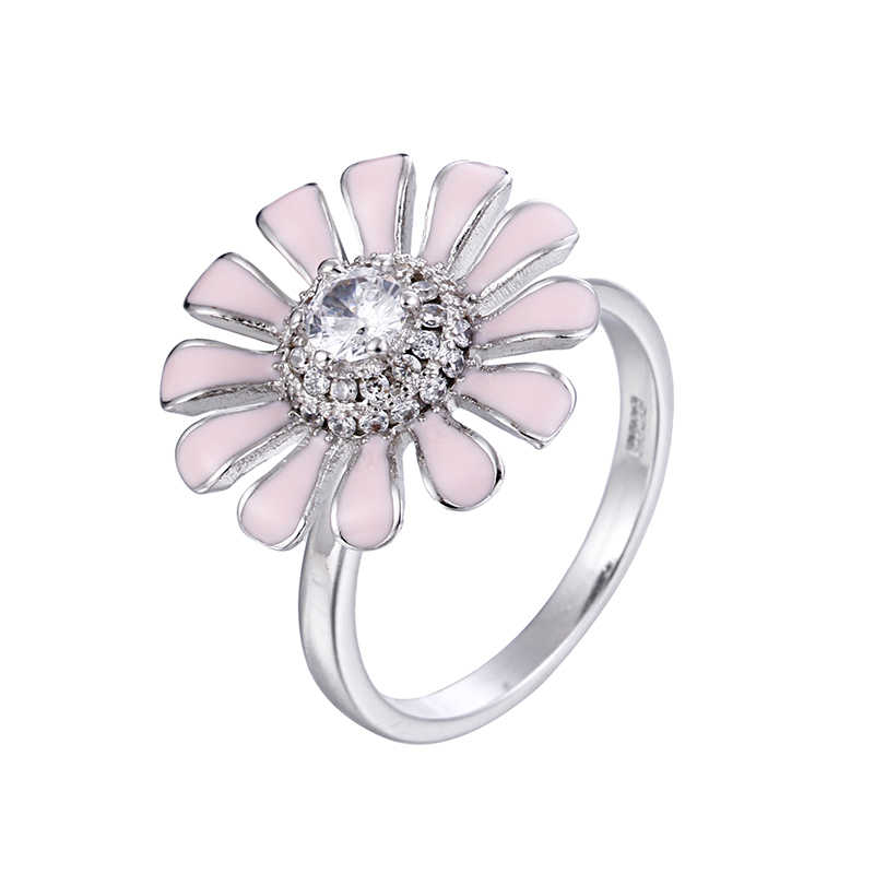 100 925 sterling silver fashion rotatable pink sunflower shiny crystal ladies party ring jewelry female open finger rings gift in Rings from Jewelry Accessories
