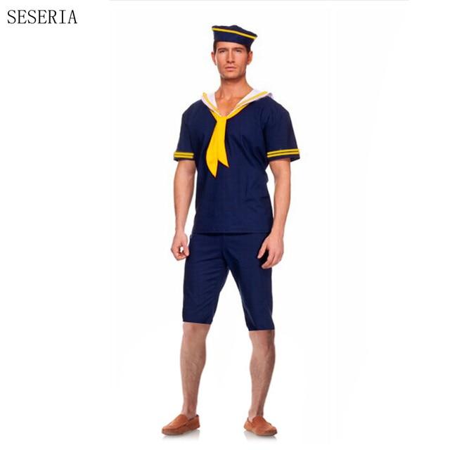 SESERIA Navy Costume Men Sailor Costume Worker Uniform Hot Sale Halloween  Costumes For Men Carnival Party
