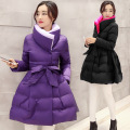 2017 Fashion Winter Outerwear Down Coat Women Long Bow Waist Fluffy Skirt Slim Cotton-padded Jacket Plus Size Parka Coats MT142