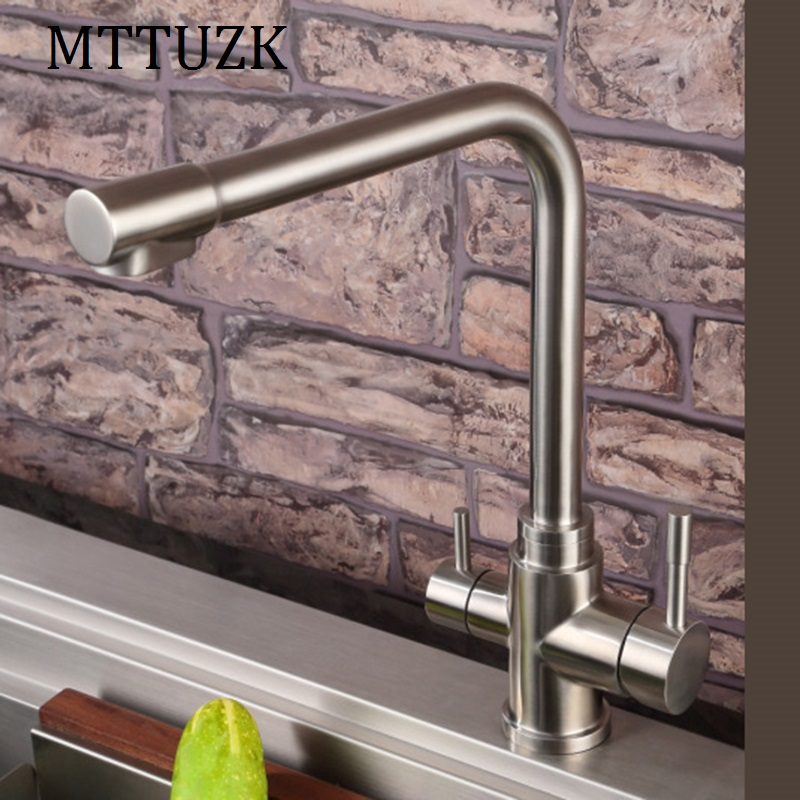 MTTUZK 304 stainless steel brushed Kitchen Faucet Hot&cold Pure Water faucet Drinking Water Filter Tap Three in one sink faucet super high quality 304 stainless steel hot and cold no lead brushed basin safe sink kitchen faucet with german technology