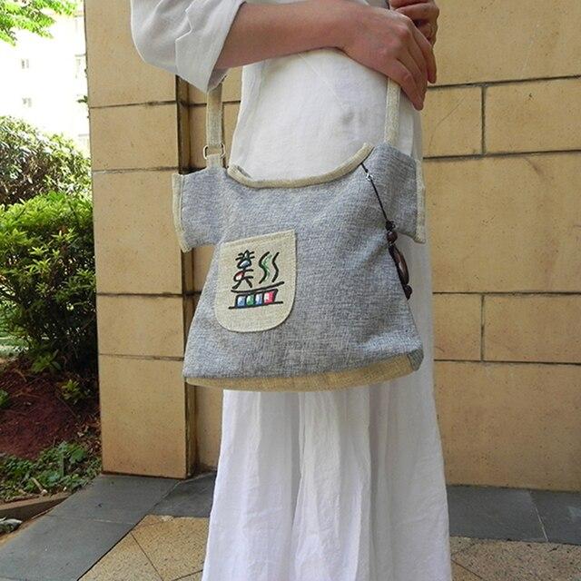 New Unique Women Ethnic Retro Canvas Handbag Cute Child Clothes Contour Mochila Feminina Handmade Pendant Crossbody 019 Hand Bag