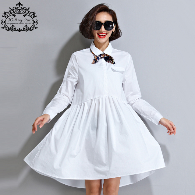 Plus Size Women's Dress 2017 Spring Lady White Blouse Pure Color Tops&Tees Loose Fashion Casual Sweet Oversize Lady Clothing