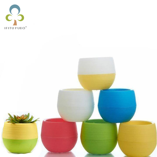 5pcs/lot 7*7cm Wholesale Flower Pots Mini Flowerpot Garden Unbreakable Plastic Nursery Pots for Succulent plants GYH