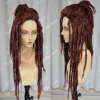 DRAMAtical Murder / Minkus afrikanisch Neger Dunkelrot Dreadlocks Perucken Cosplay Wig Halloween Costume Wigs + Wig Cap