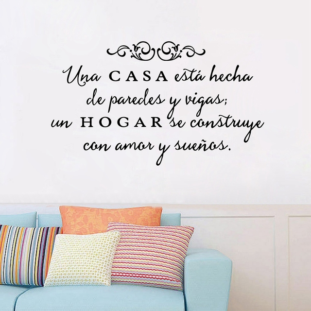 Attractive Vinyl Wall Stickers Spanish Quote Una Casa Wall Decals Removable Wall Art  Home Decor For Living