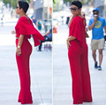 Sexy Deep V Neck Backless Red Jumpsuit Women New Plus Size Summer Style Rompers Womens Jumpsuit Loose Long Pants Rompers Overall