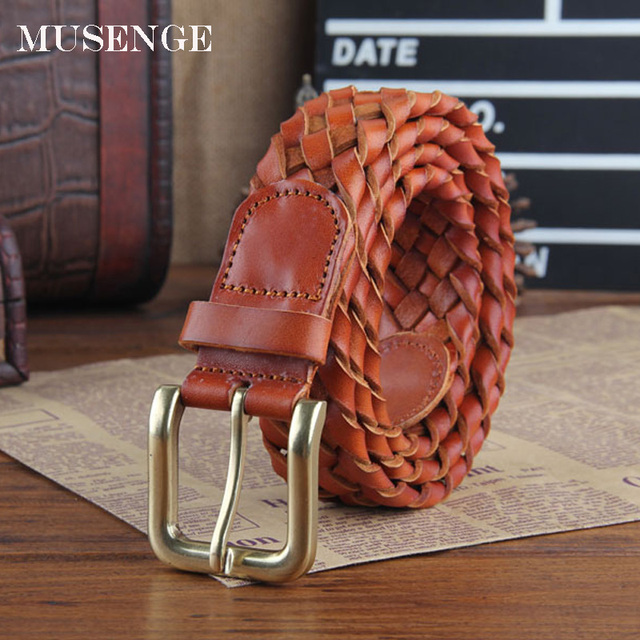 Nature Cow Skin Leather Belt Mens Braided Ceinture Homme Pin Vintage