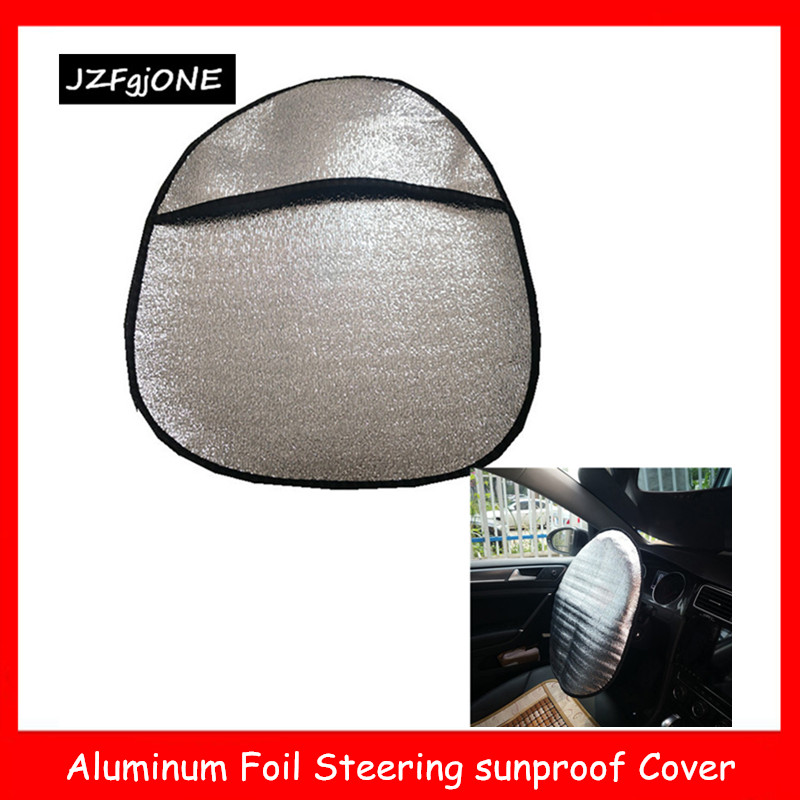 Double Thicken Auto Car Steering Wheel Sun Shade Cover Heat-Resistence Sunshade Aluminum Foil Steering Cover Mat Car Accessories