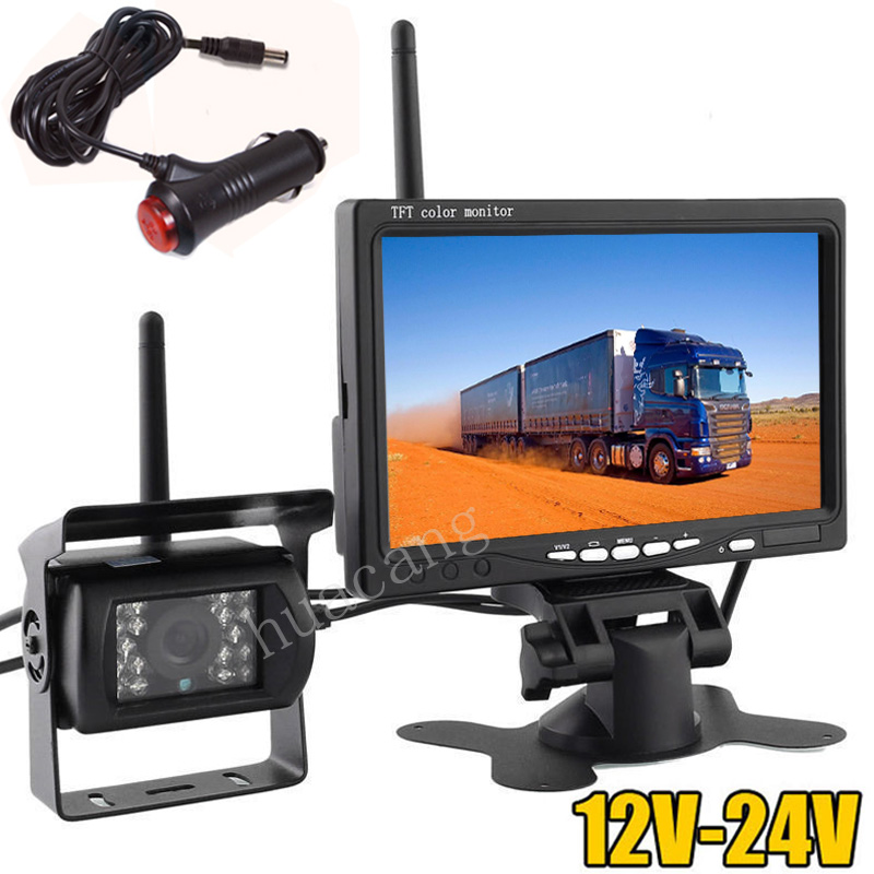 "12V 24V Wireless Reversing Camera System 18LEDs Night Vision Waterproof +7"" TFT LCD Backup Rear View Monitor for Bus Truck RV