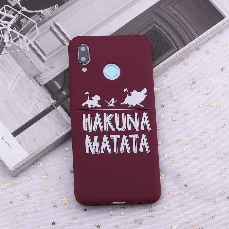 Силиконовый чехол для телефона Xiaomi mi Red mi Note 5, 6, 7, 8, 9 lite Pro Plus Hakuna Matata, Король Лев, карамельный чехол