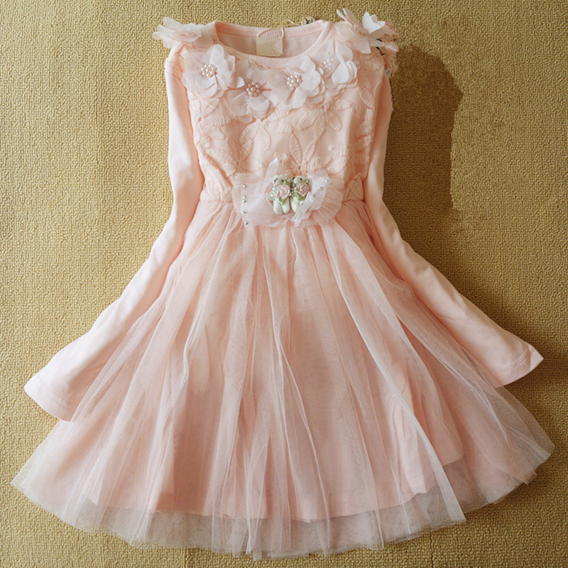 Anlencool 2017 Free shipping Kids girls dress princess dress children spring Korean version of the influx of new girls clothing korean version of the girls winter velvet dress children s lace dress princess dress new child dress age from 3 9t