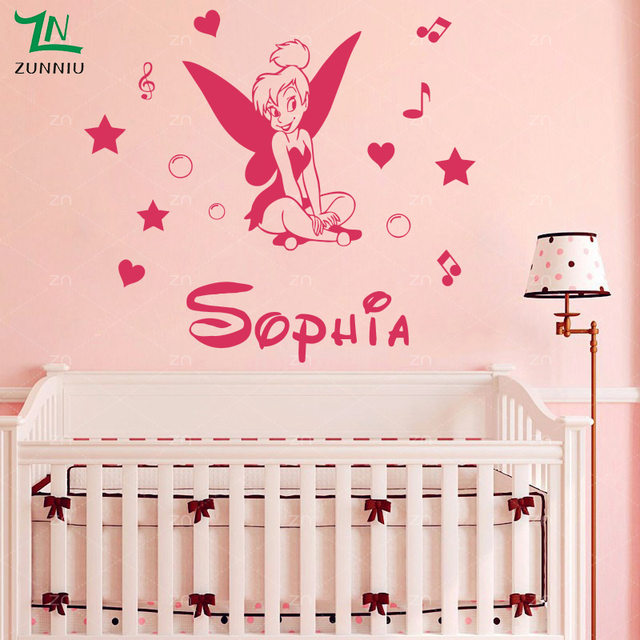 A Fairy Girl Stars Angel Wall Stickers Personalized Custom Name - Personalized custom vinyl wall decals for nurserypersonalized wall decals for kids rooms wall art personalized
