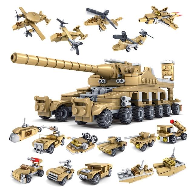 HUIQIBAO 544PCS 16in1 Military Tank Building Blocks Super Vehicle Plane Truck Car Ship Army Bricks Educational Toys For Children