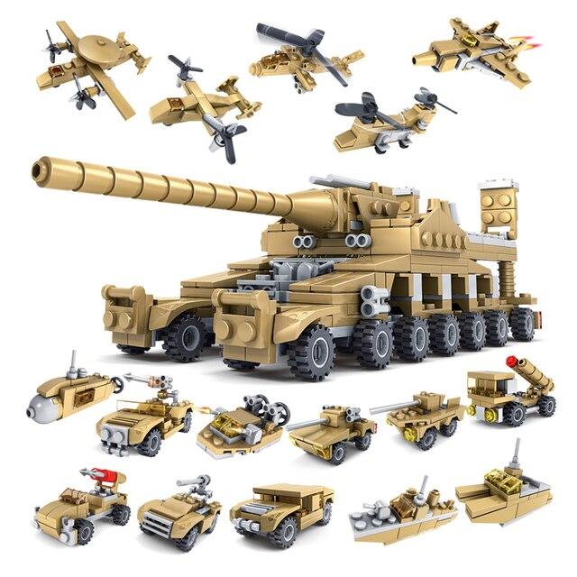 Huiqibao 544個16in1軍事戦車ビルディングブロックスーパー車両飛行機トラック車船軍レンガ教育玩具子供のため