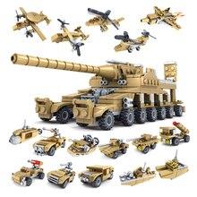 Huiqibao 544 pçs 16in1 militar tanque blocos de construção super veículo avião caminhão carro navio exército tijolos brinquedos educativos para crianças