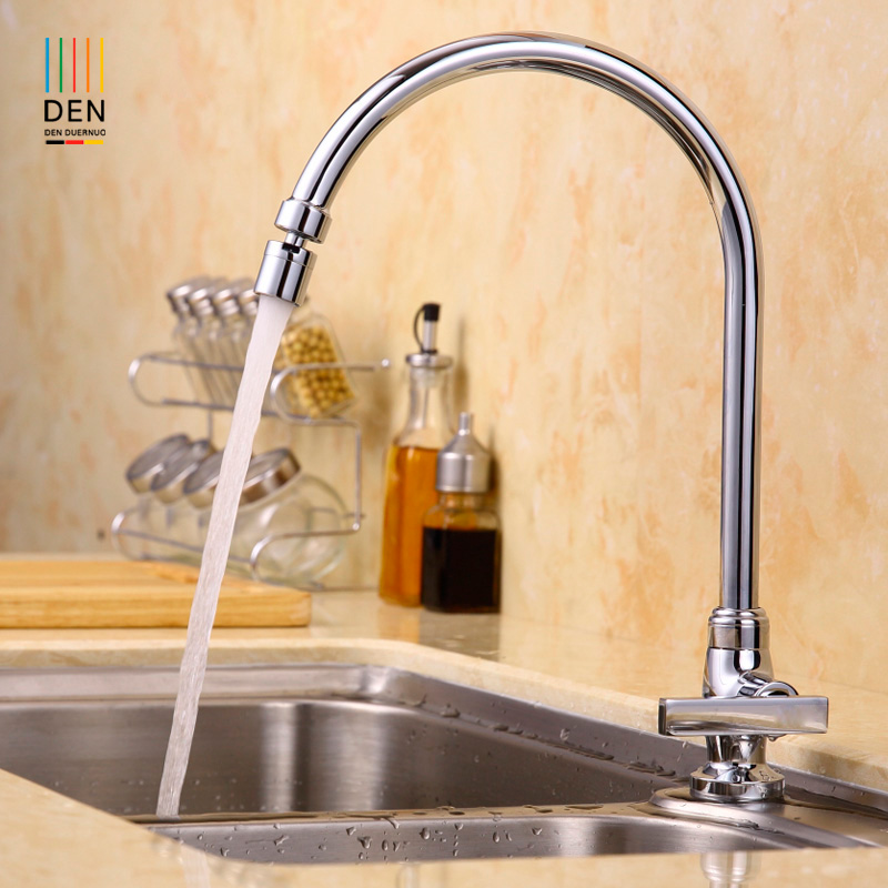 US $75.7 10% OFF|Copper Kitchen Faucet wash dish basin sink tank pool of  single hole seat type universal rotary head-in Kitchen Faucets from Home ...