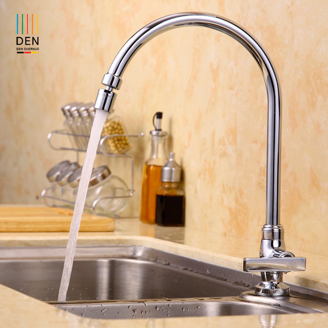 Copper Kitchen Faucet Wash Dish Basin Sink Tank Pool Of Single Hole Seat  Type Universal Rotary