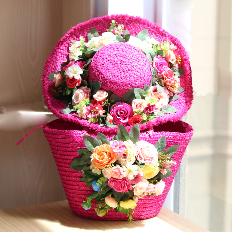 New travel holiday package simulation rose flower hat bag beach sun hat children tide