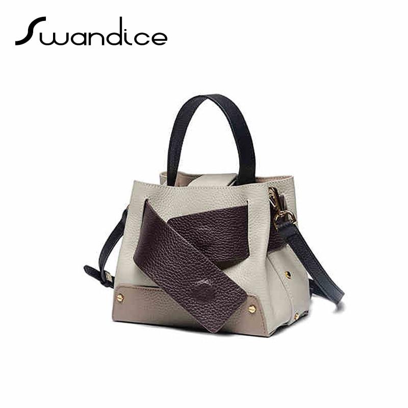 100 Natural Real Genuine Cow Leather Belt Buckle Handbags Contrast Colour Crossbody Messenger Shoulder Bags 2019