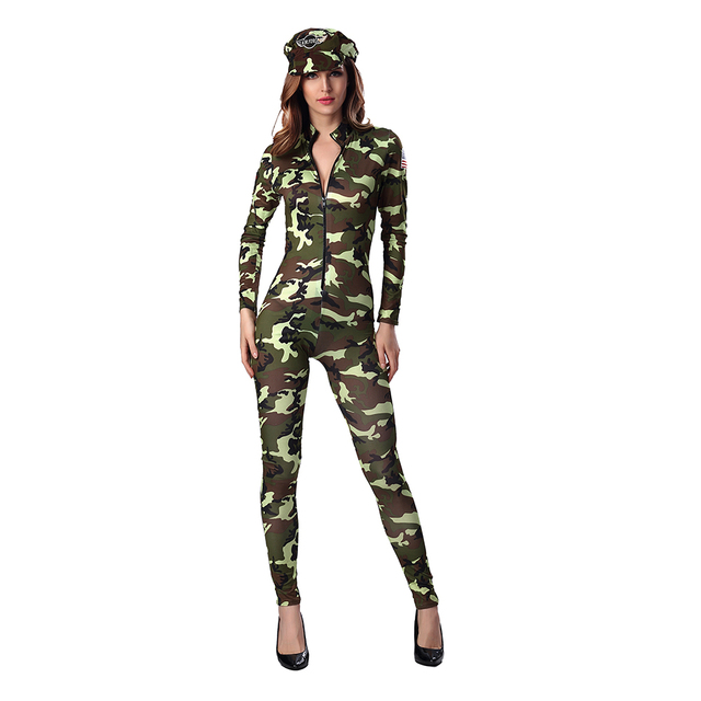New Arrive Sexy Army soldier Costumes Women Halloween Costumes camouflage Jumpsuit military officer Cosplay women party dress