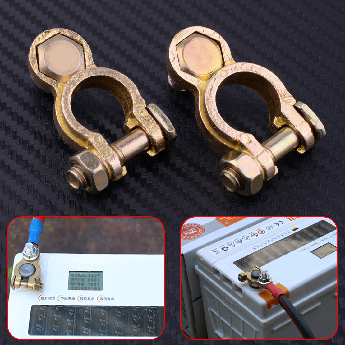 2x Battery Copper Terminal Pile Head Clamp Clips Connector Negative And Positive