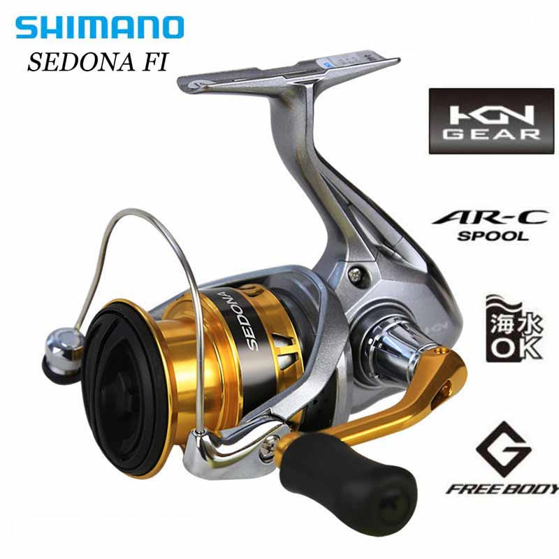 SHIMANO SEDONA FI Spinning Fishing Reel 3+1BB Aluminum Spool 4kg HAGANE GEAR Max Drag Spinning Fishing Reels 100% original shimano alivio spinning fishing reel 1 1bb with original nylon fishing line ar c spool rigid body fishing reels