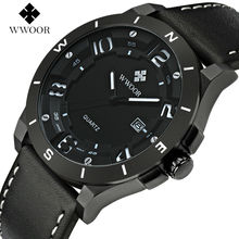 WWOOR Luxury Brand Men Sports Watches Men's Quartz Hour Day Date Clock Male Casual Watch Leather Strap Wrist Watch Waterproof