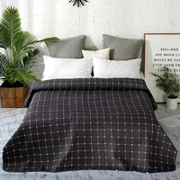 Black White Plaid Printed Simple European Soft Summer Blanket Quilted Coverlet/ Bedspread/Quilt/Summer Duvet 1PC #sw