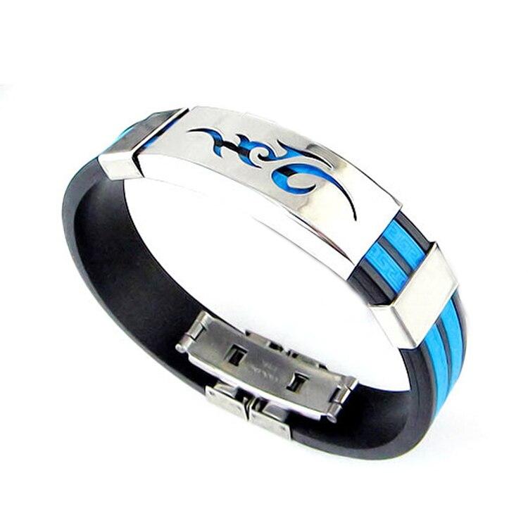 Chic Men Jewelry Titanium Steel Bangle Silicone Wristband Bracelet Stylist Gift Drop Shipping BL-0285