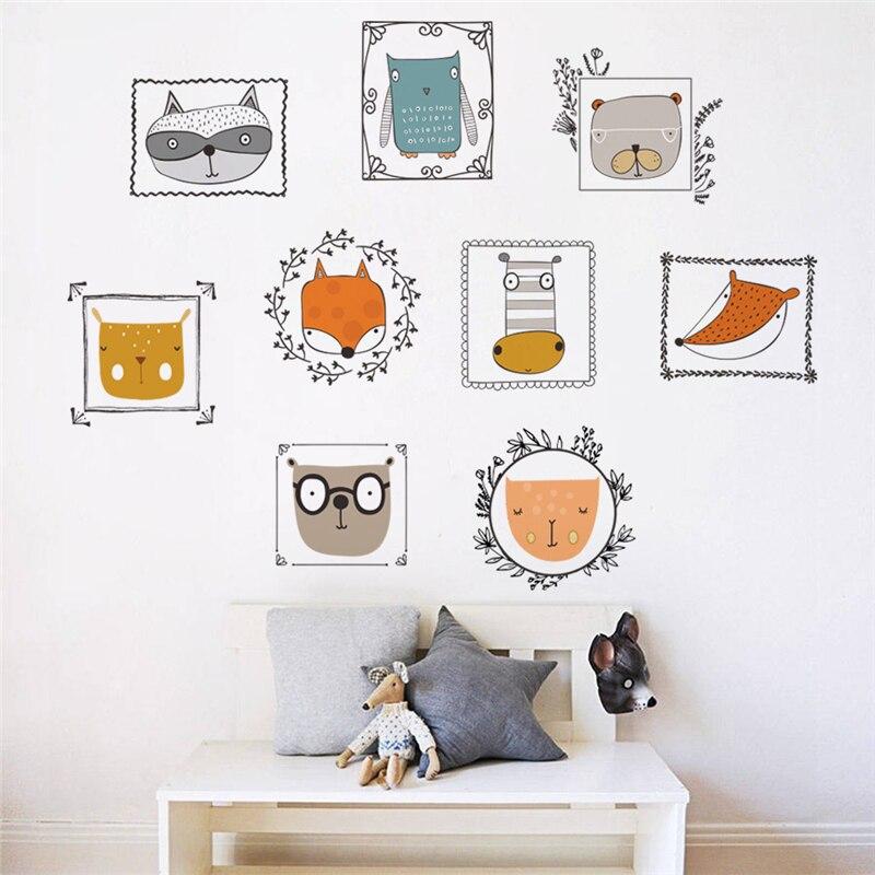 % Cartoon Schöne Tiere Bilderrahmen 60*90 Cm Wandaufkleber Für Kinder Kinderzimmer Wohnkultur Cartoon Wandtattoos Diy Wandbild Kunst Pvc Poste