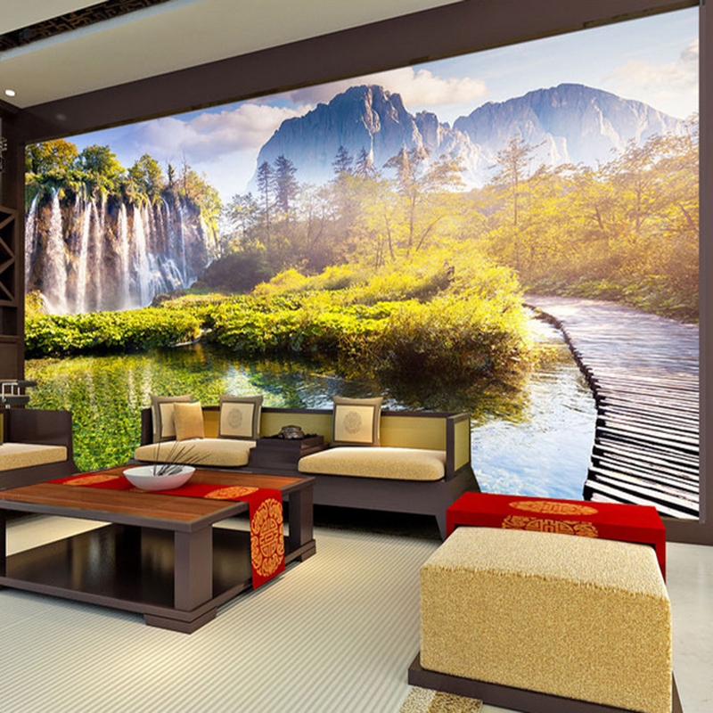 Chinese Style Waterfall Nature Landscape Photo Wallpaper Living Room ...