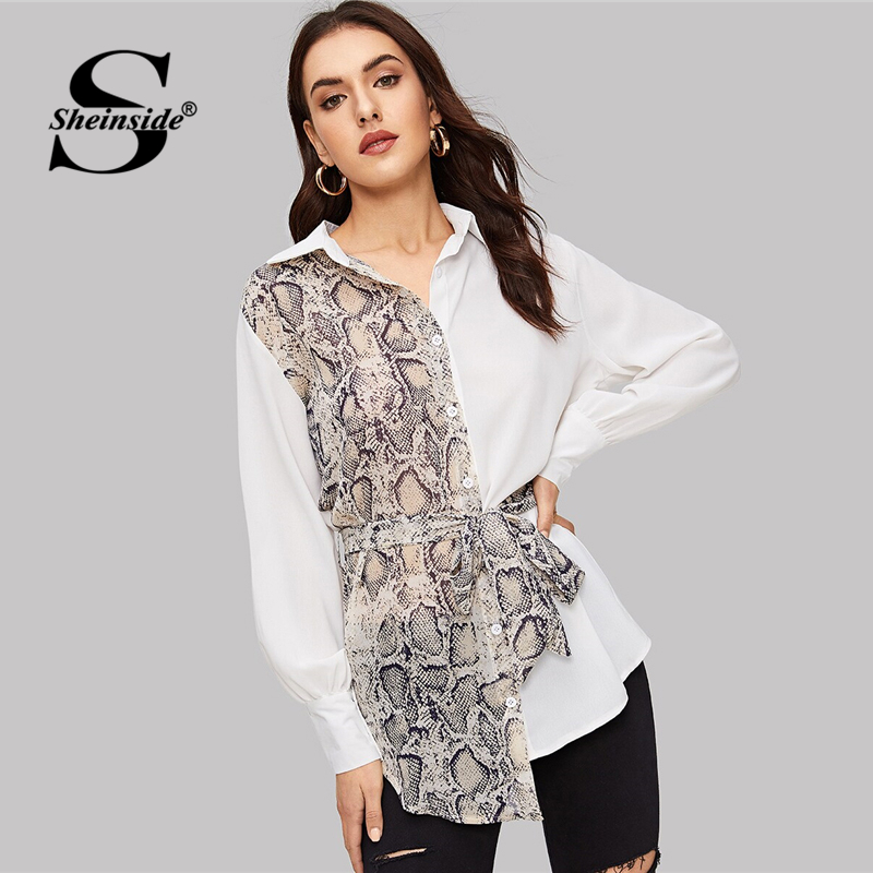 Sheinside Casual Snake Skin Print Patchwork Blouse Women 2019 Spring Button Up Belted Blouses Ladies Asymmetrical Hem Shirt