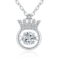 Pure 925 Silver Necklaces For Women Classic Crown Necklace With Dancing Crystal Stone Pendant Necklaces Sterling