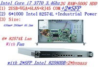 2グラムram 500 ghddサポートros routeros 1uファイアウォールサーバーネットシステム52e-ルータで6*1000メートルインテル82574l lan 2 * sfp 2 *バイパスインテルi7 3770 3.4グラ