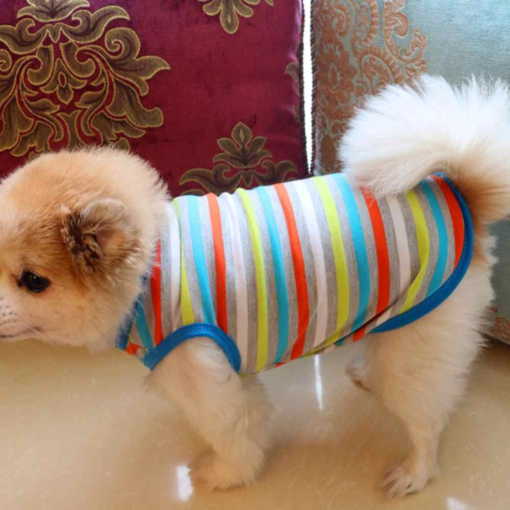 Quần áo cho chó Mèo Thú Cưng Quần Áo Thời Trang Nhiều Màu Sắc Sọc Áo Thun Mèo Con Chó Con Bulldog Mềm Áo Vest pháp Bulldog Pet sản phẩm quần áo thú cưng