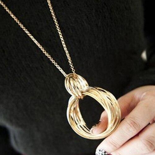 Блестящее качество новый золотой тон металла на нескольких Weave Hoop круг кулон длинные Цепочки и ожерелья для модных дам 5d1j