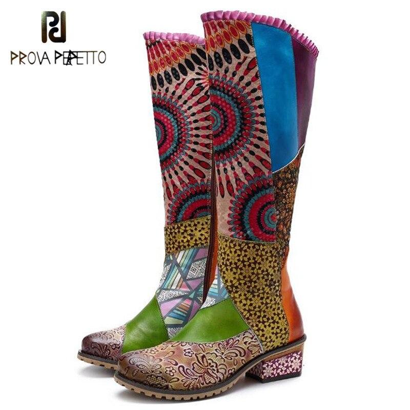Prova Perfetto Primavera Impresso Flor Botas de Costura Vento Étnicas Na Altura Do Joelho das Mulheres Botas De Couro Botas de Fundo Grosso zapatos de mujer