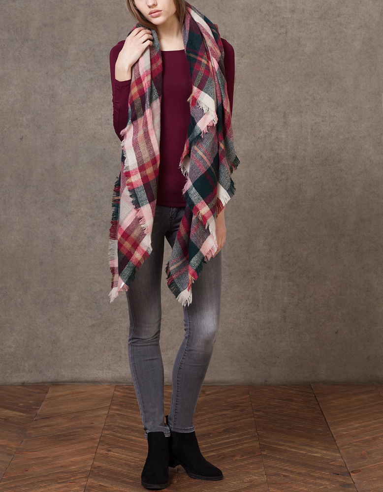 font b Tartan b font Scarf Plaid Scarf New Designer Unisex Acrylic Basic Shawls Women