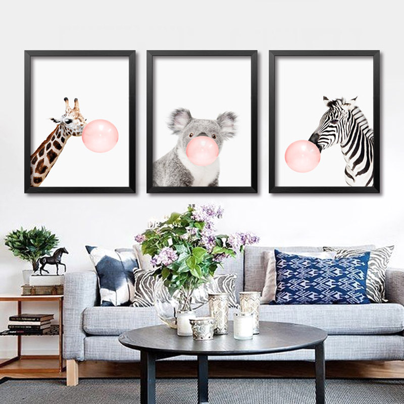 Nordic Minimalist Animals Zebra Giraffe Canvas Posters Prints Wall Picture Painting For Kids