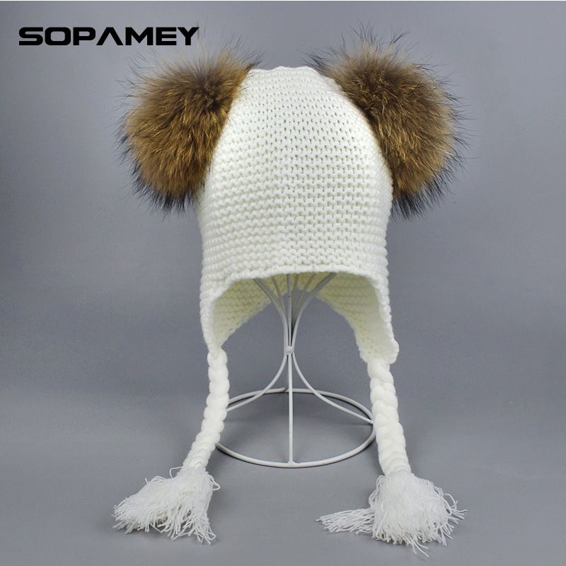 Children's Funny Winter Knitted Hat Cap for Girls Two Pompons Hat With Natural Raccoon Fur Pompom Skullies Beanies Bone Gorras