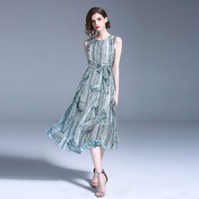 PADEGAO Print Dress Women Bohemian Pleated Casual Sleeveless Vestidos Summer Chiffon Tree Texture Prairie Chic Female