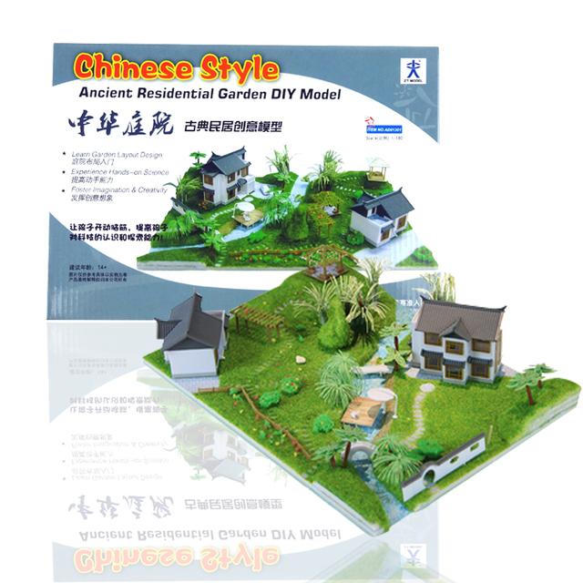 Estilo chinês Antigo Jardim Residencial DIY Kits Modelo de Ciência & Estudantes do Ensino a Elaboração de Material de Classe