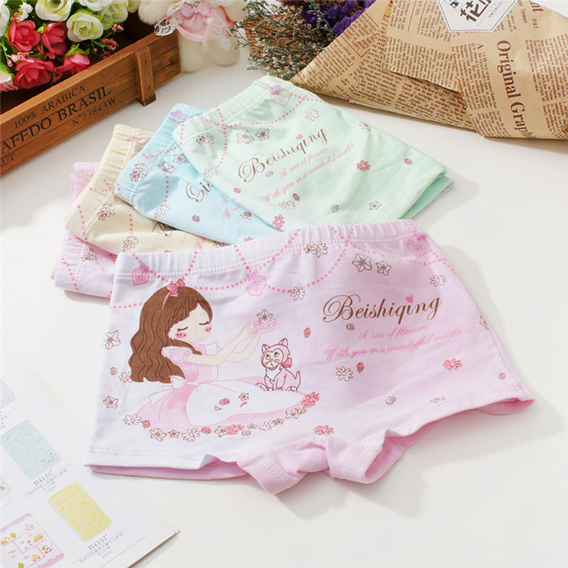 3Pcs Of Cartoon Printed Girls Panties Kids Baby Underwear Children's Soft Cotton Underwear Random Delivery