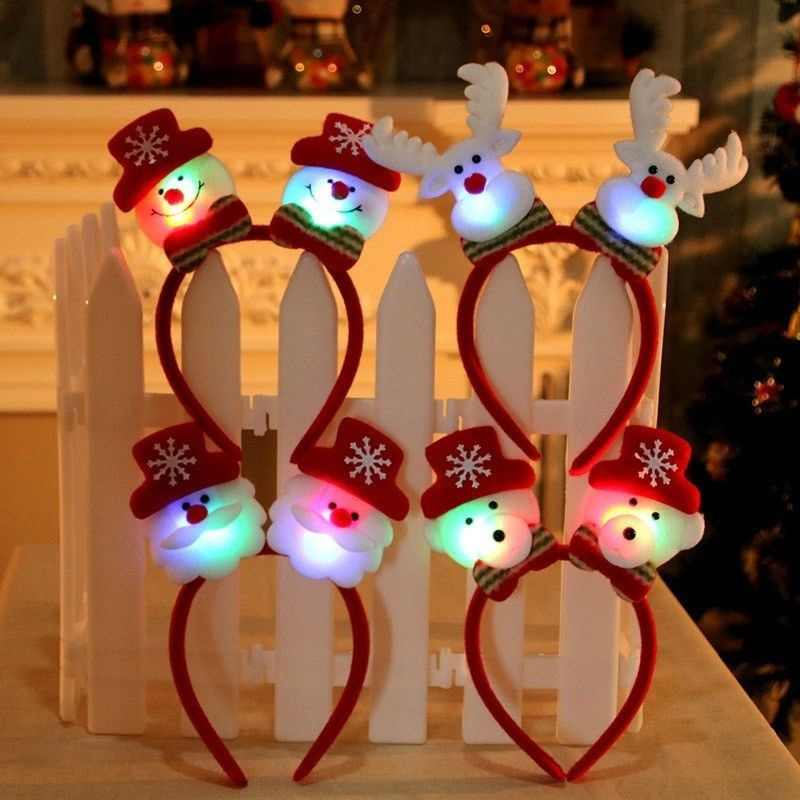 LED Flashing Headband Light Up Hair Band for Christmas Holiday Decoration Party Accessory Christmas Gift