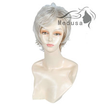 Medusa hair products: Synthetic pastel wigs for women Perfect shag styles medium length wavy Mix color  wig with bangs SW0102