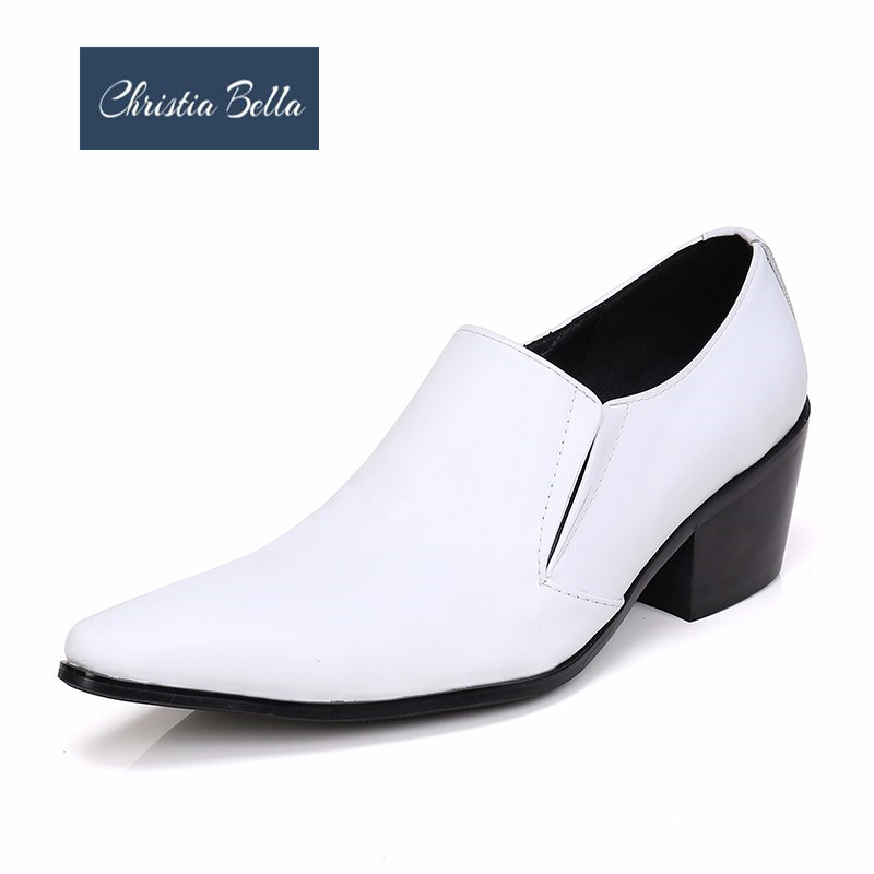 Christia Bella New Classic White Genuine Leather Men Wedding Shoes Plus Size Pointed Toe Dress Shoes Mid Heel Men Business Shoes