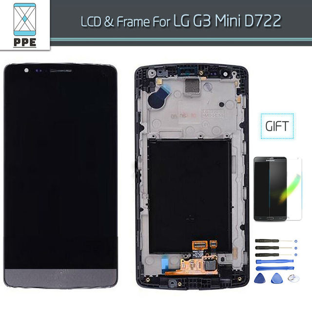 For LG G3 Mini D725 D722 D724  G3 Beat LCD Screen Display Assembly Touch Digitizer with Frame 5 Inch  Black White Free Shipping
