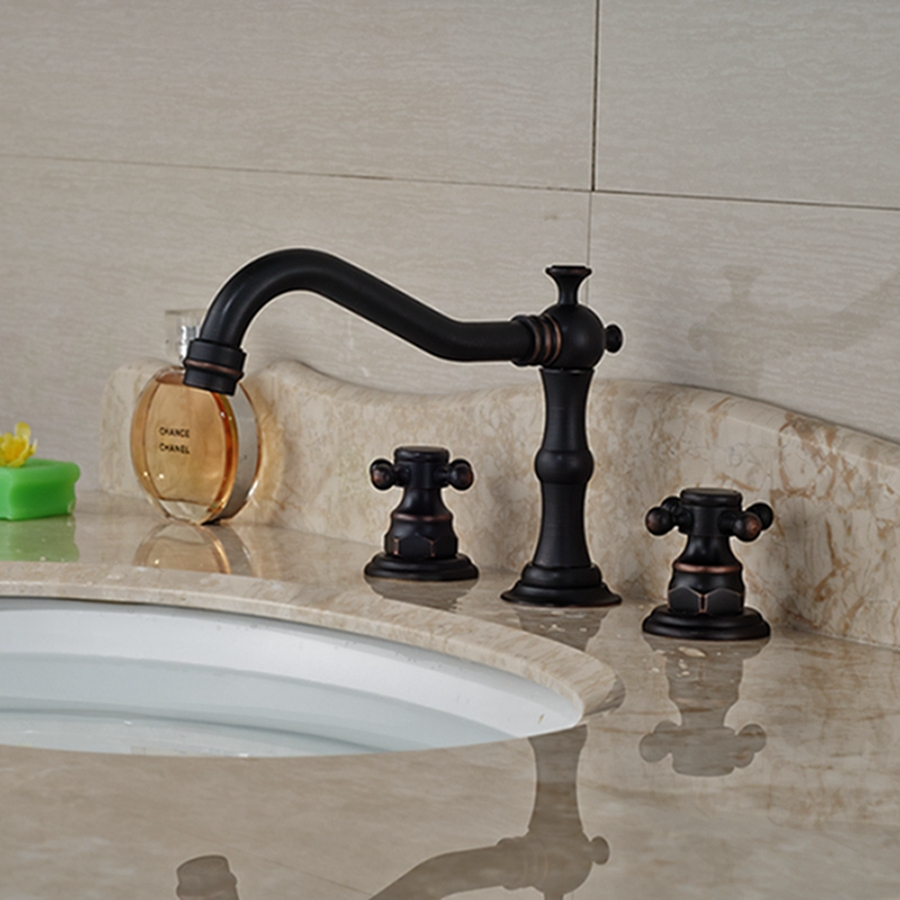 Wholesale And Retail Luxury Oil Rubbed Bronze Deck Mounted Bathroom Faucet Widespread 8 Sink Mixer Tap Dual Cross Handles oil rubbed blacken widespread 8 inch deck mounted basin mixer taps dual cross knob bathroom lavatory sink faucet